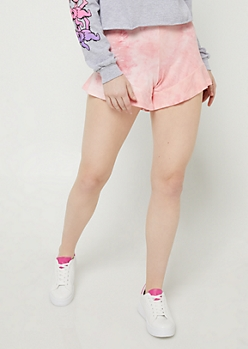 Pink Tie Dye Super Soft Ruffled Shorts