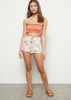 Ivory Floral Print Button Front Flowy Shorts