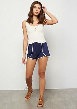 Navy Super Soft Crochet Shorts