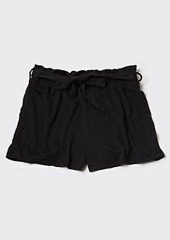 Black Knit Paperbag Waist Shorts