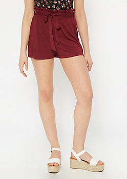 Burgundy Paperbag Sash High Rise Shorts