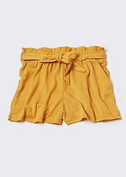 Gold Knit Paperbag Waist Shorts