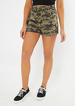 Camo Print Cargo Pocket Shorts