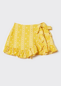 Yellow Paisley Print Side Tie Ruffled Skort