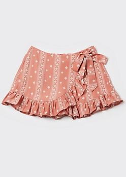 Pink Paisley Print Side Tie Ruffled Skort