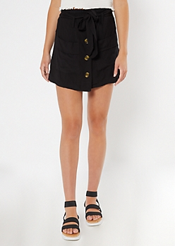 Black Button Front Twill Skort