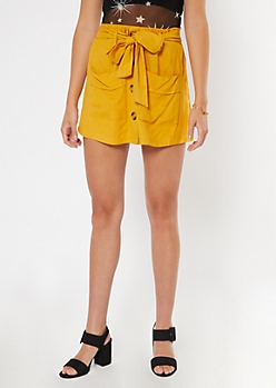 Yellow Button Front Twill Skort