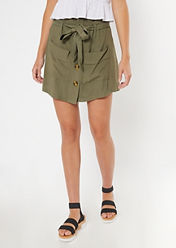 Olive Green Button Front Twill Skort