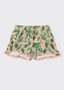 Coral Tropical Print Super Soft Crochet Trim Shorts