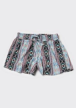 Blue Border Print Flowy Shorts