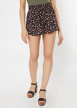 Black Floral Print Flowy Shorts