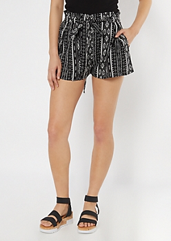 Black Border Print Striped Paperbag Waist Shorts