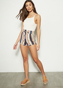 Rainbow Border Striped Super Soft Dolphin Shorts