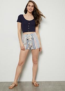 Blue Pastel Striped Paperbag Waist Tie Shorts