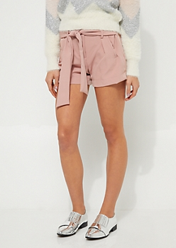Pink Tie-Front Belted Shorts
