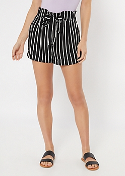 Black Striped Paperbag Waist Shorts