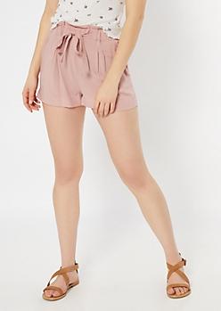 Mauve Paperbag Waist Shorts