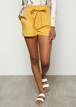 Mustard High Waisted Linen Paperbag Waist Shorts