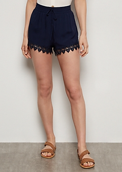 Navy Lace Trim High Waisted Shorts