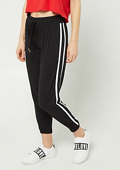 Black Dual Varsity Striped Pattern Joggers
