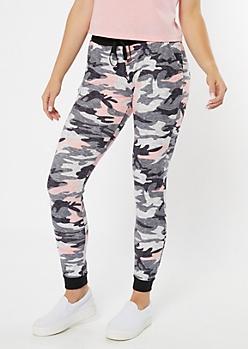 Pink Camo Print Super Soft Joggers