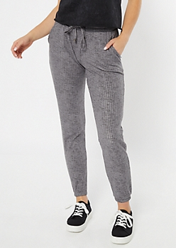 Gray Marled Ribbed Knit Joggers