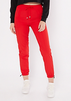 Red Swishy Joggers