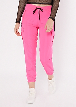 Pink Colorblock Swishy Cargo Joggers