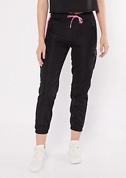 Black Colorblock Swishy Cargo Joggers