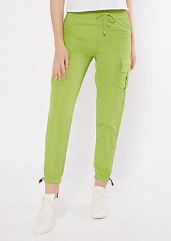 Neon Green Swishy Cargo Joggers