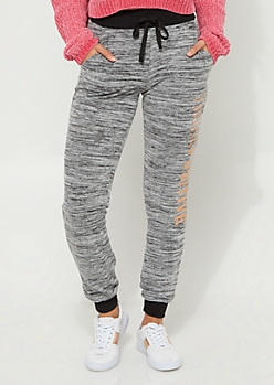 Heather Gray Think Positive Hacci Knit Joggers