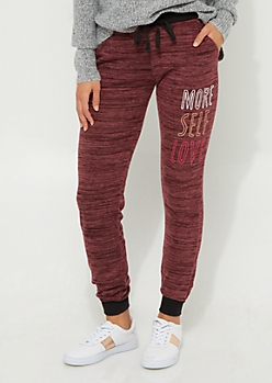 Burgundy More Self Love Hacci Knit Joggers