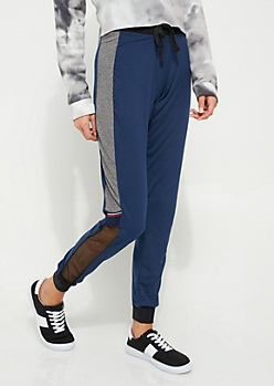 Navy Mesh Side Soft Knit Joggers