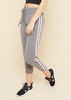Heather Gray Varsity Stripe Pattern Super Soft Joggers