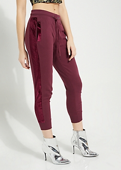 Burgundy Knit Velvet Side Joggers