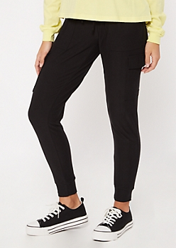 Black Super Soft Cinched Ankle Cargo Joggers