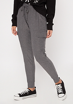 Gray Super Soft Cinched Ankle Cargo Joggers