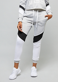 Heather Gray Colorblock Striped Joggers