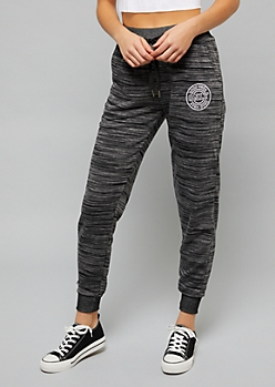 Black Space Dye Good Vibes Joggers