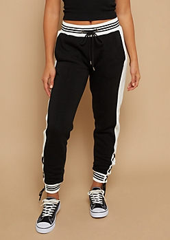 Black Lace Up Side Fleece Lined Joggers