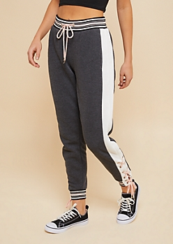 Charcoal Gray Lace Up Side Fleece Lined Joggers