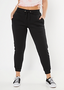 Black Sherpa Lined Joggers
