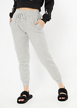 Heather Gray Sherpa Lined Joggers