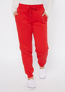 Red Sherpa Lined Joggers