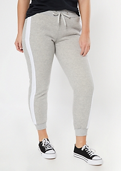Gray Side Striped Sherpa Lined Joggers