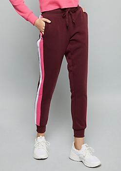 Burgundy Double Side Striped Fleece Joggers