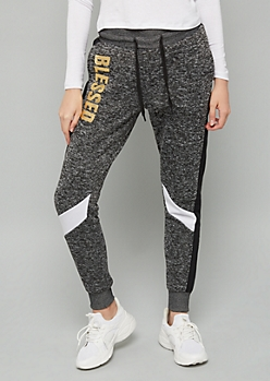 Black Marled Blessed Side Striped Fleece Joggers