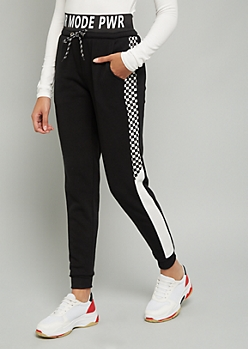 Black Pwr Mode Checkered Print Joggers