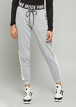 Gray Pwr Mode Checkered Print Joggers