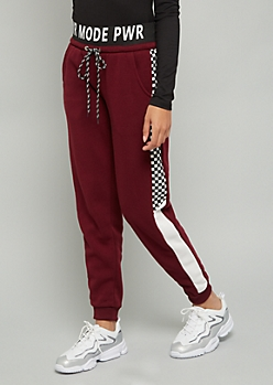 Burgundy Pwr Mode Checkered Print Joggers